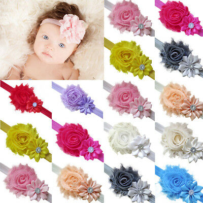 5pcs Elastic Newborn Baby Headdress Kids Girls Chiffon Hair Band Flower Headband