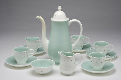 """Vintage 1950's Susie Cooper """"Raised Spot"""" Coffee set for 5 - Pale green - C506"""