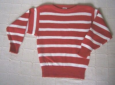 Vintage Girls Jumper - Age 7-8 Years - Red/White Stripe - Asdale -  Used