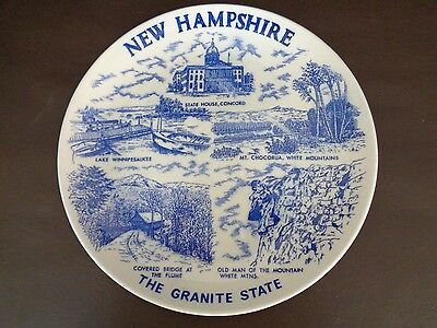 Vintage Blue New Hampshire Collector Plate (Cat.#5B010)