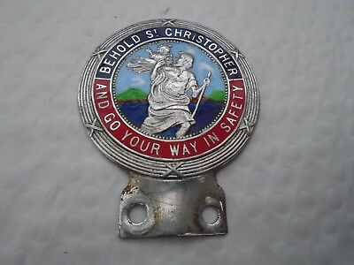 St Christopher Car Badge Enamel. 'Behold St Christopher and go your way in...'
