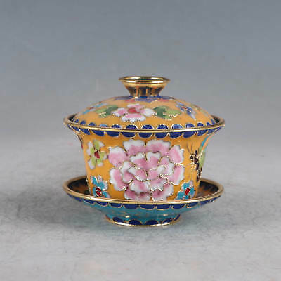 Chinese Cloisonne Handmade Flower&Butterfly Cup JTL1048
