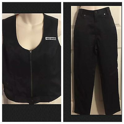 Harley Davidson Women's Riding Pants Size 8 And Riding Vest Small Cotton Nylon