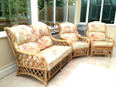 Cane Conservatory Furniture 3 piece suite, 2 seater setee and 2 armchairs