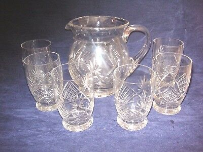 vintage crystal set of a JUG and  6 footed Tumblers EDWARDIAN