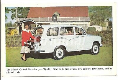 "ORIGINAL Morris Oxford Traveller ""Quality First"" Dealer Postcard 50s/60s RARE"