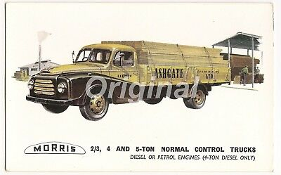 ORIGINAL Morris Normal Control Trucks ⅔, 4, 5 Ton Dealer Postcard 50s/60s RARE