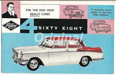 ORIGINAL Riley 4/Sixty Eight 1½-Litre Saloon Dealer Postcard 1950s/60s V.RARE