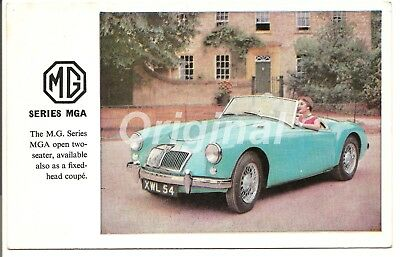 ORIGINAL M.G. Series MGA Open Two Seater Roadster Dealer Postcard 50s/60s RARE