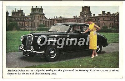 ORIGINAL Wolseley Six Ninety At Blenheim Palace Dealer Postcard 50s/60s RARE