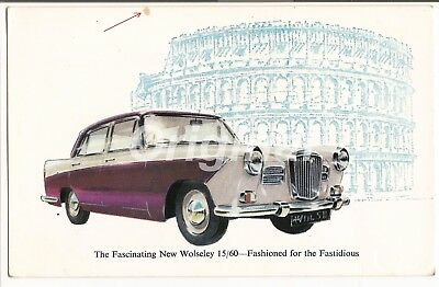 ORIGINAL 'New' Wolseley 15/60 Saloon 1.5L  Dealer Postcard 1950s/60s V.RARE