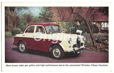 ORIGINAL Wolseley Fifteen Hundred (1500 - 1.5l) Dealer Postcard 50s/60s RARE