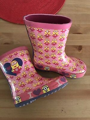 Girls Pink Minions Wellies Size 5 Toddler