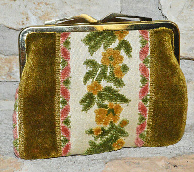 Vintage 70s Chenille NEIMAN MARCUS Carpetbag COIN PURSE West Germany