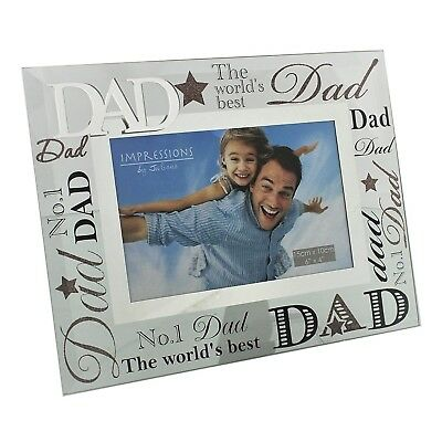"Special Dad Words Mirror Photo Frame 6x4"" Worlds Best Birthday Father Daddy Gift"