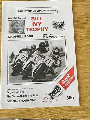 1985 Bill Ivy Trophy Cadwell Park Motorcycle Races Programme