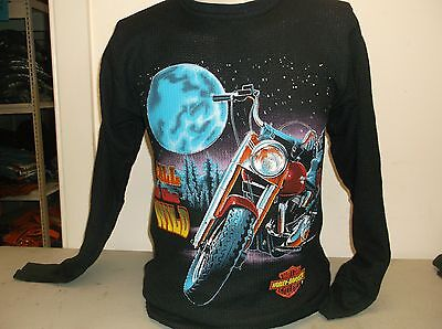 Harley-Davidson Vintage black 1992 Thermal shirt RUNS small Call the wild