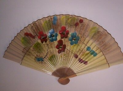 Japanese hand painted flower themed vintage hand fan