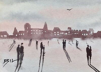 ACEO Original Art Watercolour Painting by Bill Lupton  - Tourists Gather