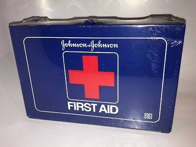 Collectible Wall Mount Johnson and Johnson First Aid Kit Blue Metal Box #8161