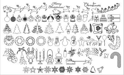 Clip art Christmas decorations collection dxf  Cdr cnc files for plasma laser