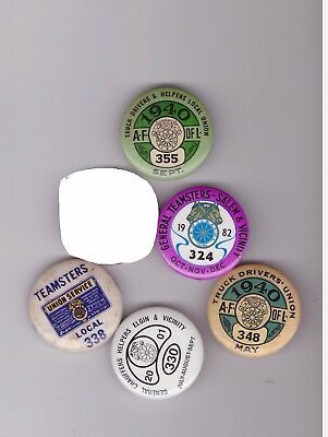 Teamsters dues labor union pins  (lot a)