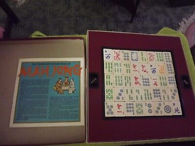 wooden MAH-JONG Set 1970s Chinese Board Game Mahjong With Instructions COMPLETE