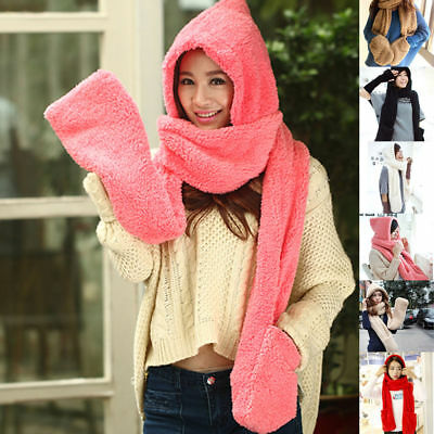 New Fluffy Hood Scarf Earflap Hat Women Ladies Gloves With Pocket Winter Warm
