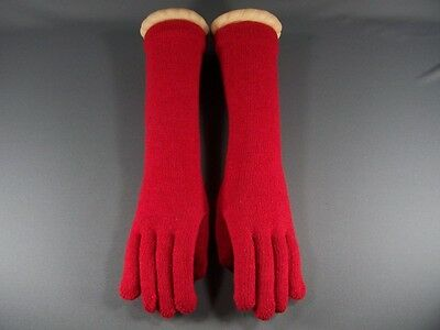 "Red 15"" long wool stretch gloves winter warm ladies elbow length"