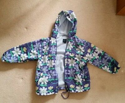 Mini Boden Girl's blue floral Coat 7-8 Years Fleece Lined