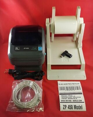 Zebra ZP 450 Printer with; Labels, Label Holder, and Free Remote Tech Support