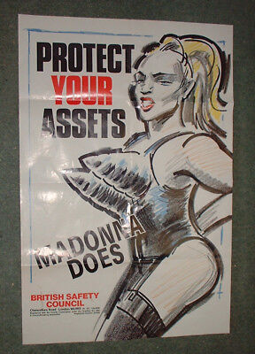 original 1991 MADONNA PROTECT YOUR ASSETS single sided POSTER 51cm x 76cm