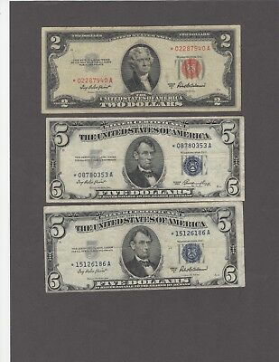 Trio of Nice Circulated Star Notes-F/VF-Blues-53,53A;Red $2-53A