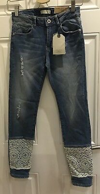 NEW Zara Girls Casual Collection Age 11-12 Blue Ripped Slim Jeans 0185