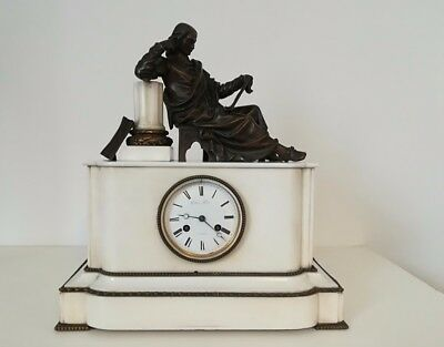 French Antique Mid Victorian White Marble & Bronze Mantle Clock, c1830, Gillion