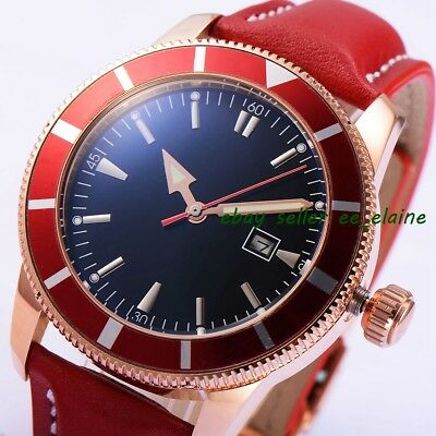 46mm Rosegold PVD Case Mens Automatic Watches Red Sterile Dial Rotating Bezel 02