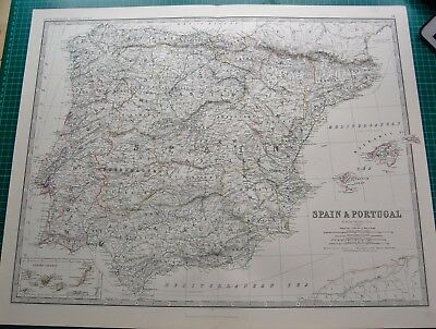 1885 Large Victorian Map-Johnston- Spain & Portugal