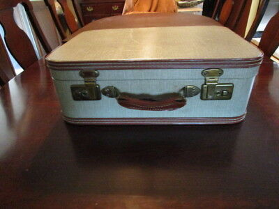 RETRO Vintage Mid Century Suitcase Luggage Hard Case ~ nice decorative stackable