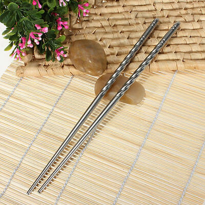 Enduring Non-slip Chop Sticks Stainless Steel Chopstick Chinese Stylish LWC