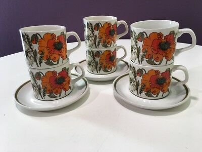 J&G Meakin Ironstone Poppy 6  Cups And 3 Saucers