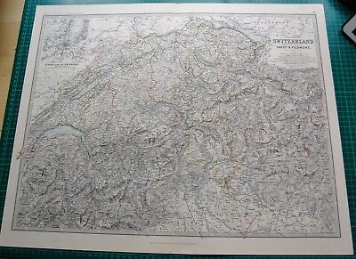 1885 Large Victorian Map-Johnston- Switzerland and the Alps of Savoy & Piedmont