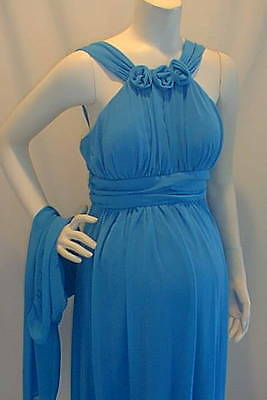 LOT of 2 NWT Aqua Blue 3 Roses Cocktail Maternity Dresses SMALL & XL Special New