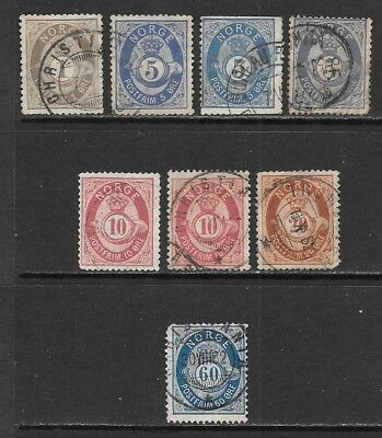 NORWAY 1877-1878 Numeral Issues Used - Posthorn Shaded Type (Oct 0053)