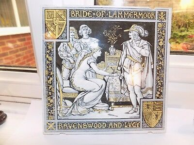 VICTORIAN MINTON MOYR SMITH WALL TILE 8'' x 8'' BRIDE OF LAMMERMOOR RAVENSWOOD &