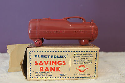 1960's ELECTROLUX SAVINGS BANK FOR QUARTERS ONLY IN ORIGINAL BOX