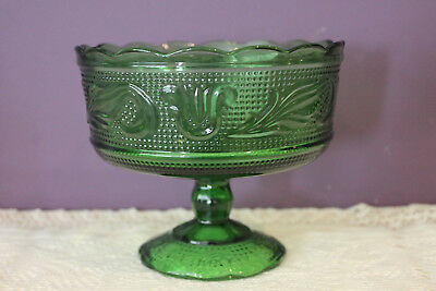 Vintage E. O. Brody Green Pedestal Footed Compote  Usa