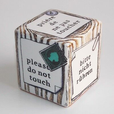 """Piero Fornasetti """"please Do Not Touch"""" A Silk-Screen Porcelaine Cube Paperweight"""