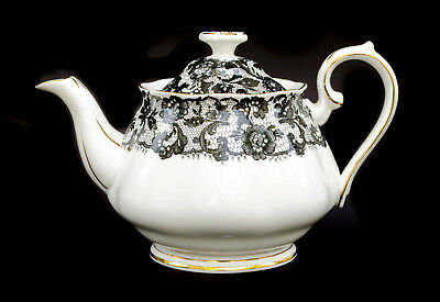Rare Royal Albert Senorita Black Lace Small Teapot 2 Cup 16 Oz Mint Bone China