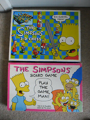 Bundle 2 SIMPSONS Themed Games inc 3D CHESS SET & SIMPSONS BOARD GAME in VGC