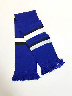 Jacquard Knitted,Fan,Football,Supporter, Blue Black White Bar Scarf